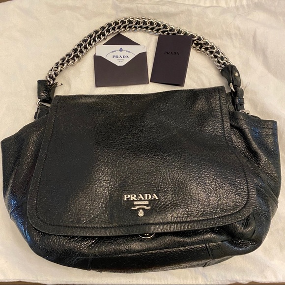 Prada Cervo Lux Chain Flap Shoulder Bag